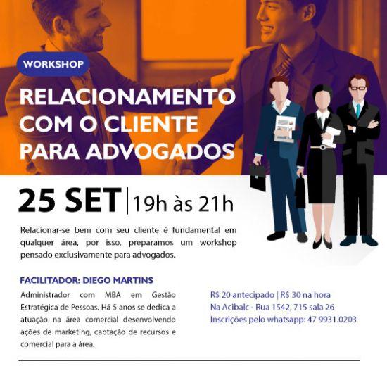 Acibalc promove workshop para advogados na próxima terça-feira