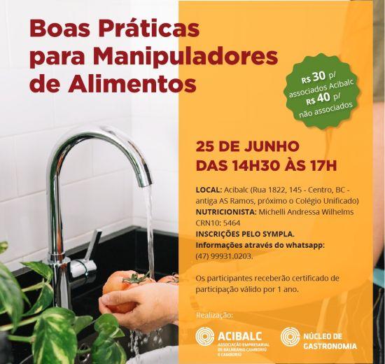 Curso de Boas Práticas para manipuladores de alimentos está com as inscrições abertas em Balneário Camboriú